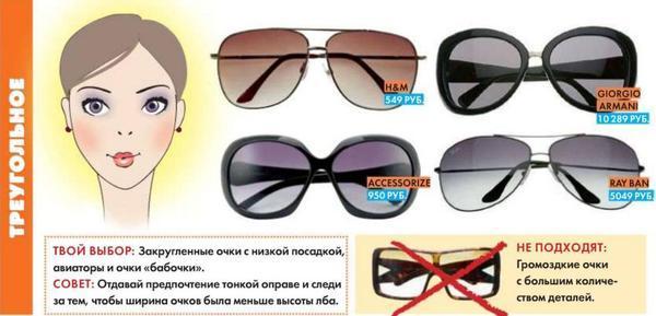 Солнцезащитные очки для треугольного типа лица