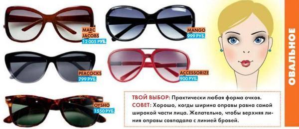 Солнцезащитные очки для овального типа лица