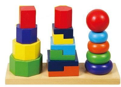Деревянные игрушки - пирамидки и кубики