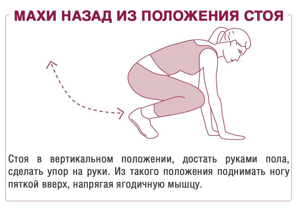 Упражнения для бразильской попки -махи ногами назад из положения стоя