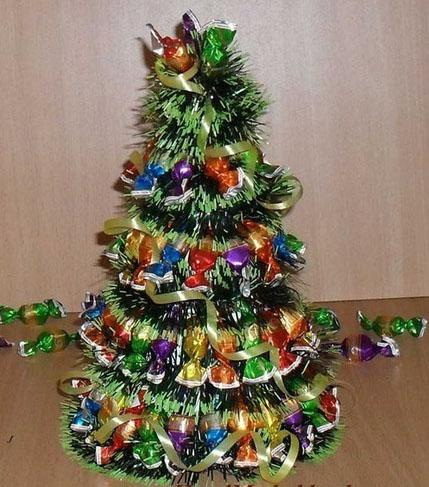 Альтернативная елка на Новый год своими руками из конфет и обоев