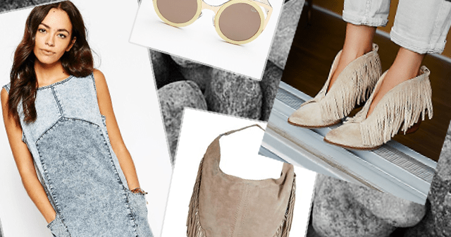 Джинсовая туника и замшевая обувь