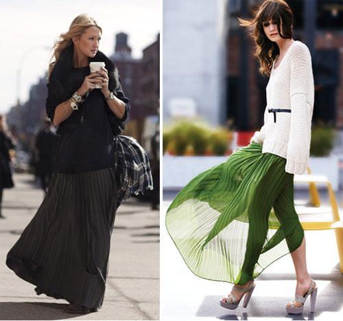 Длинная юбка плиссе