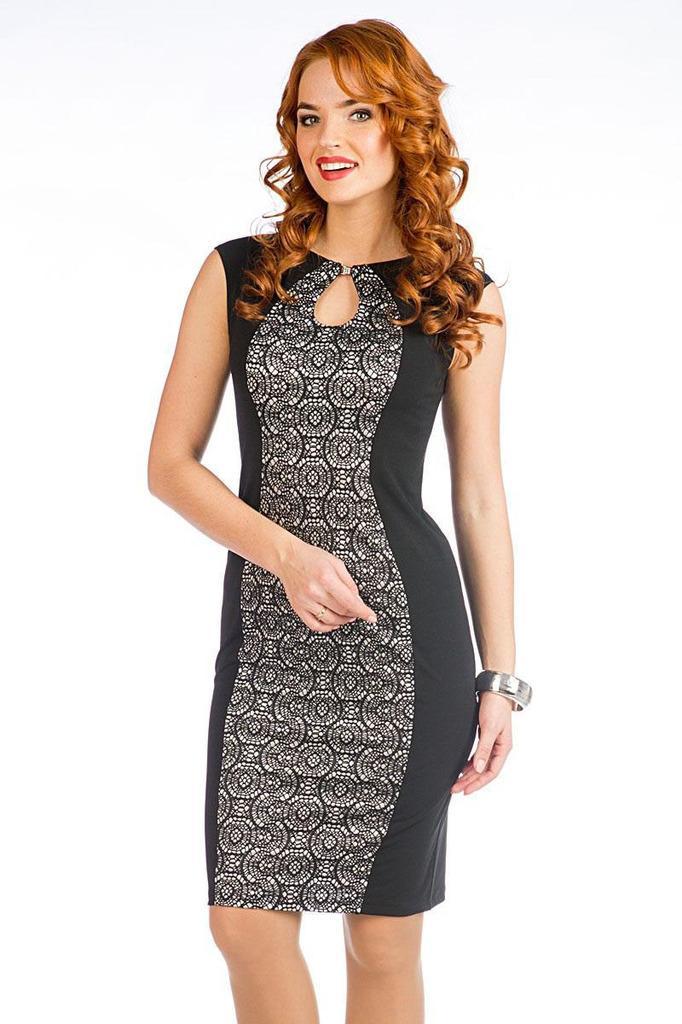 Платье футляр с фигурной горловиной без рукавов LacyWear