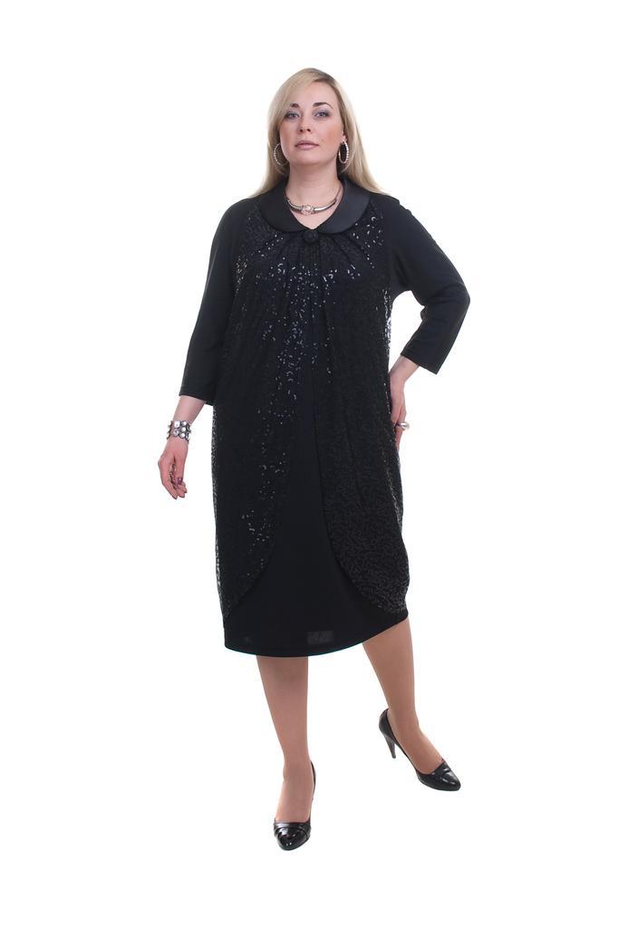 Платье трикотажное с декором и имитацией накидки с рукавами 3/4 LacyWear