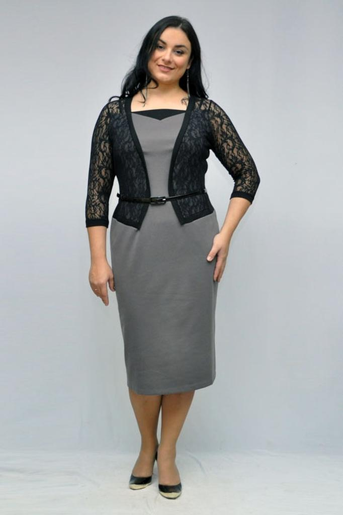 Платье футляр трикотажное с декором и имитацией жакета с рукавами 3/4 LacyWear