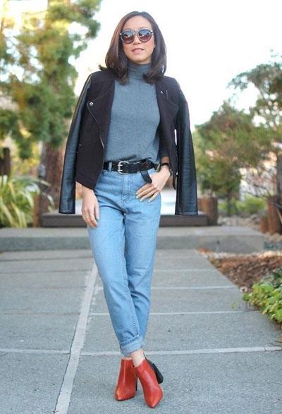 Кожаный ремень для джинсов с завышенной талией