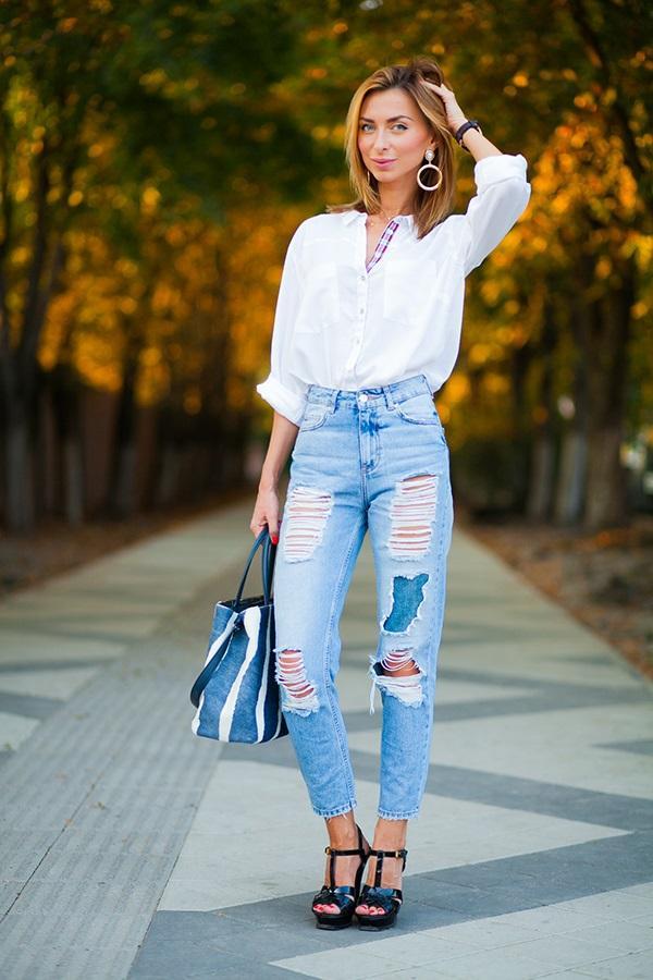 Штаны с высокой талией в сочетании с рубашкой