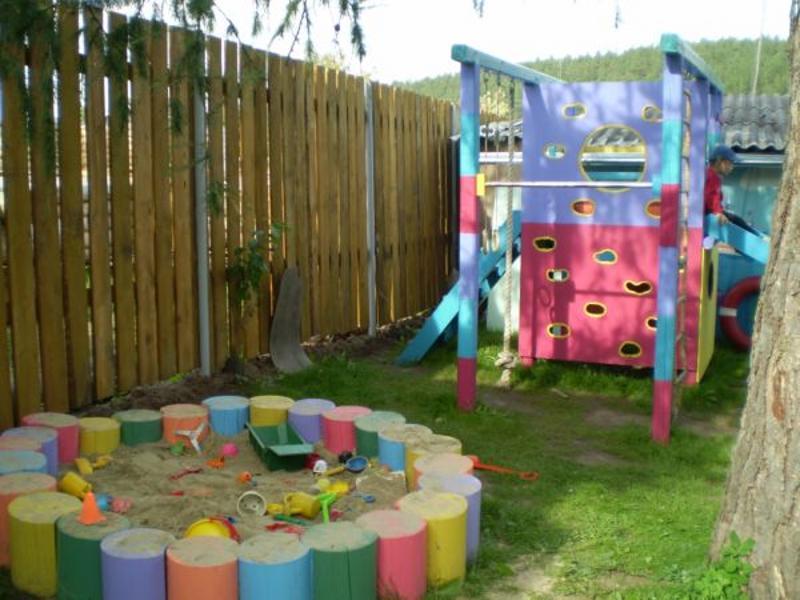 Как оформить детскую площадку на даче фото своими руками