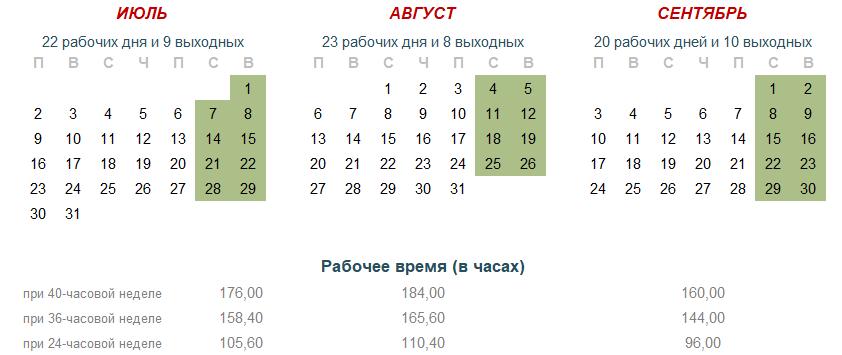 Производственный календарь 2018 год - 3 квартал