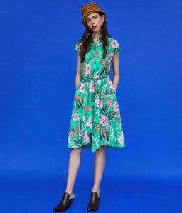 Ярко-зеленое платье из Zara