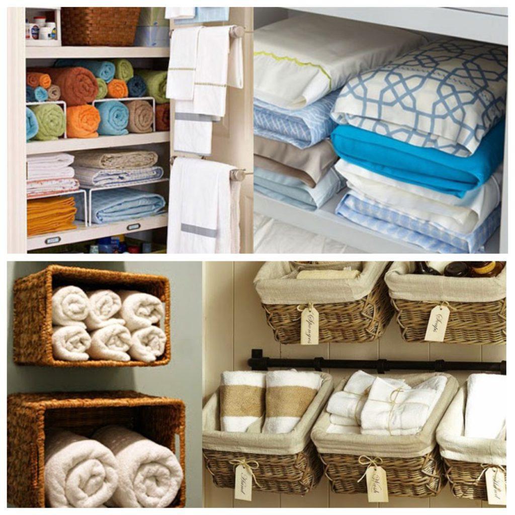 Хранение полотенец и постельного белья в шкафу