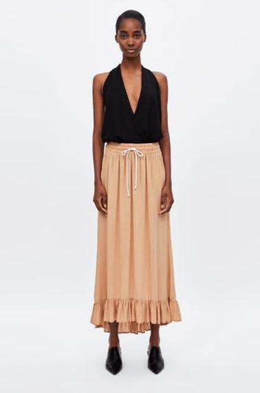 Длинная юбка с воланом