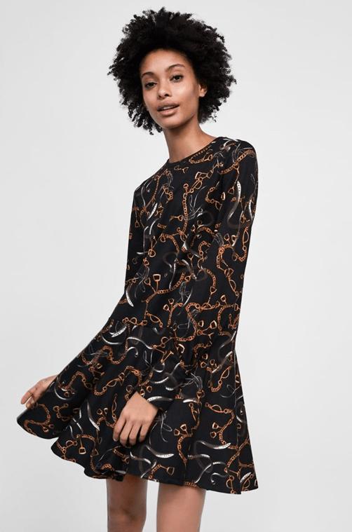 Платье с воланом из Zara