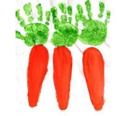 Рисование пальчиками и ладошками с детьми 1-3 лет – морковка