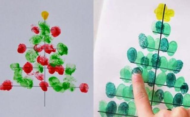 Рисование пальчиками и ладошками с детьми 1-3 лет – ёлочка