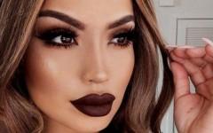 Какой макияж сочетается с темной помадой?