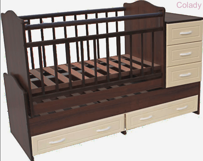 Кроватка-трансформер Ведрусс Раиса (с комодом)