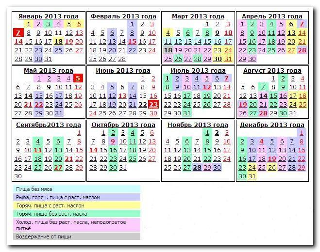 Великий пост 2013 года - календарь питания