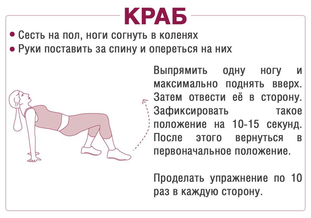 Упражнение Краб для крепких и упругих ягодиц