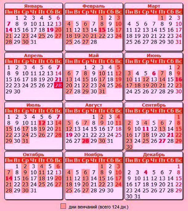 Календарь венчаний в 2019 году