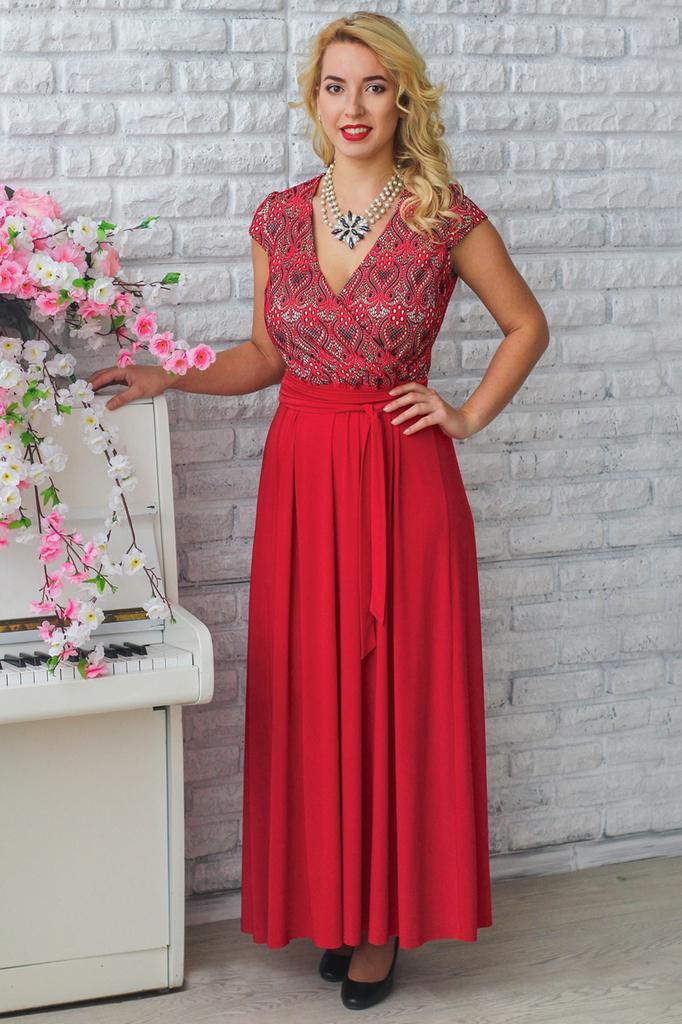 Платье в пол на поясе с глубоким декольте LacyWear