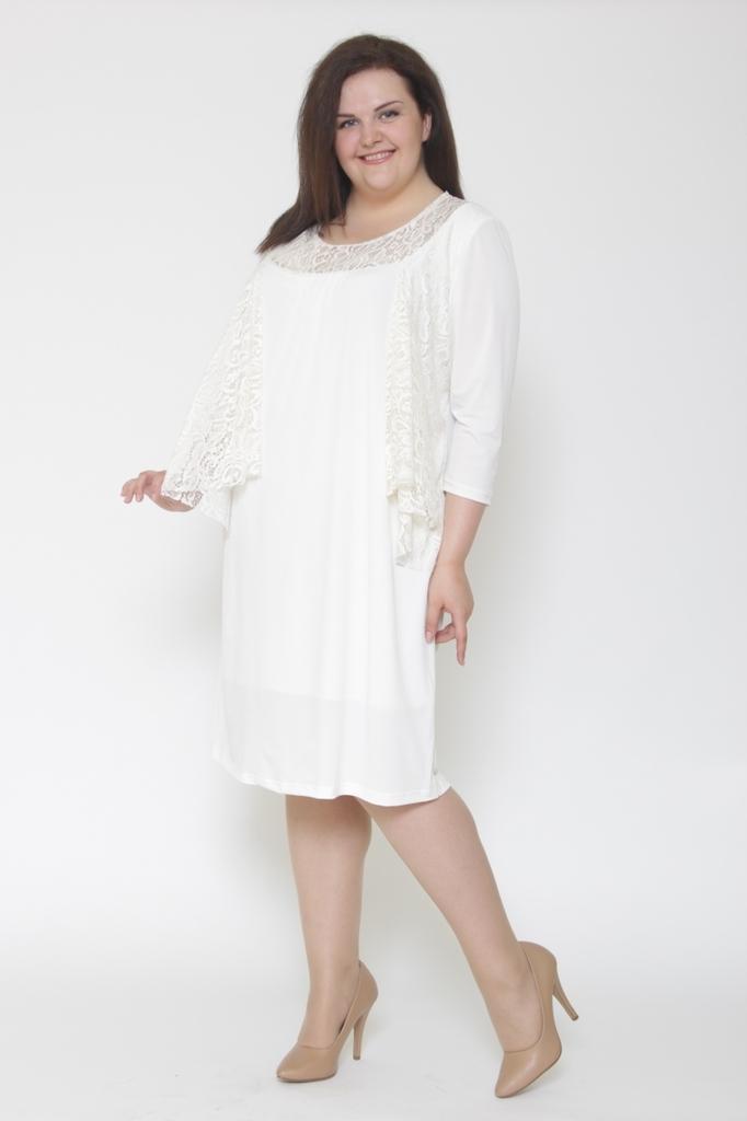 Платье футляр из трикотажа с гипюром LacyWear