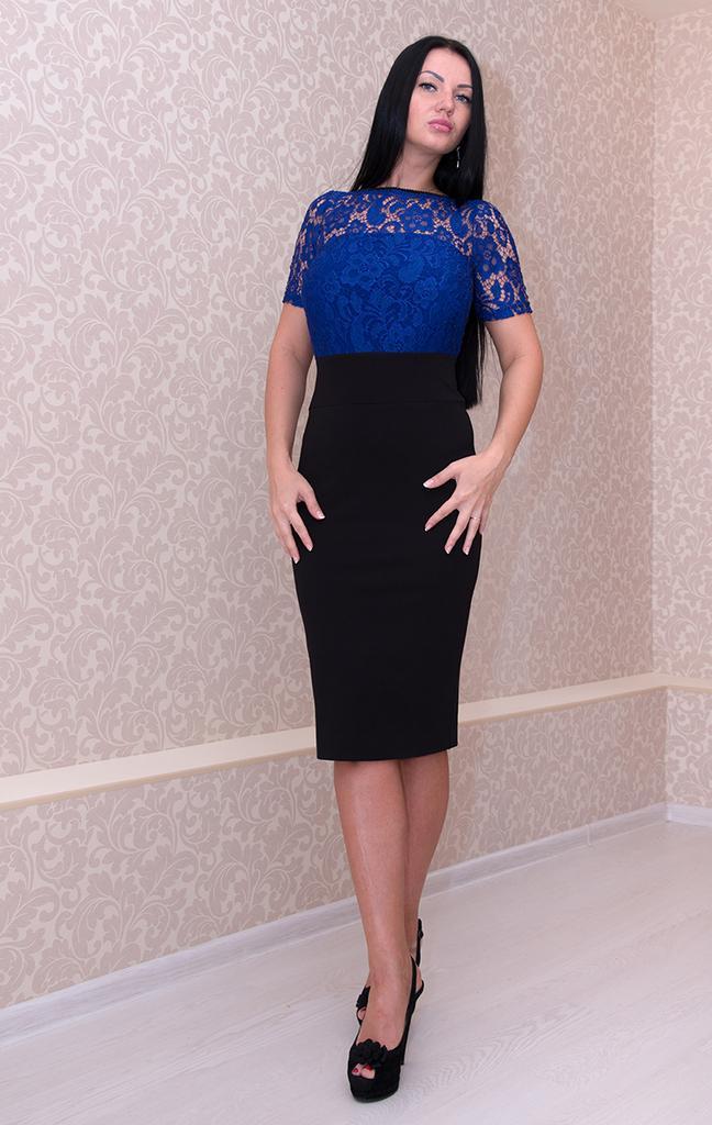 Платье футляр с короткими рукавами и кружевом LacyWear