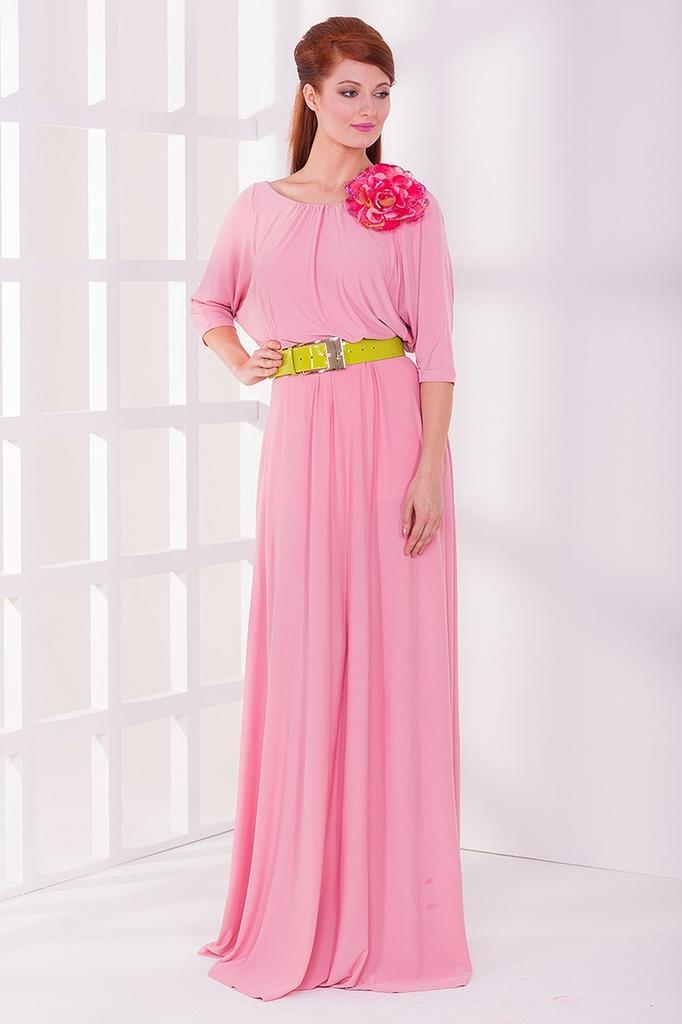 Платье в пол из вискозы в греческом стиле с рукавами 3/4 LacyWear