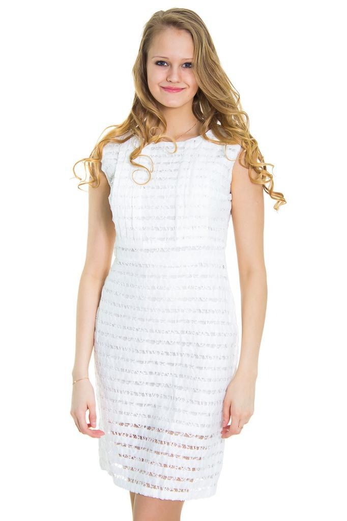 Платье футляр без рукавов с гипюром LacyWear