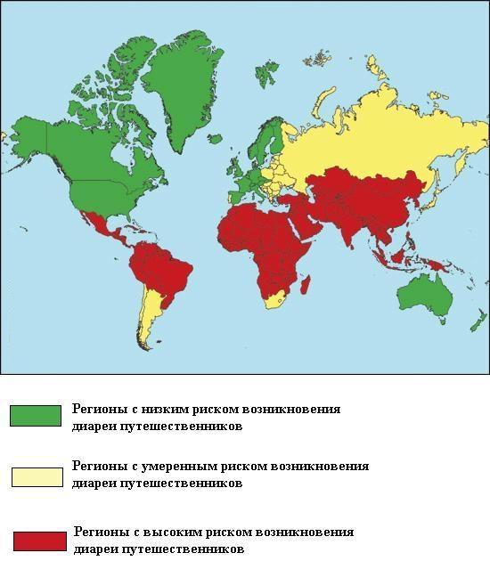 Распространение диареи путешественников по странам и континентам
