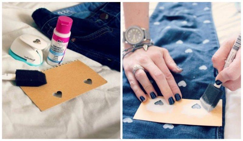 Штампы и трафареты на джинсах