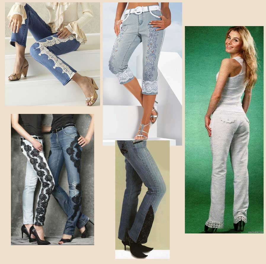 Декорирование джинсов кружевами