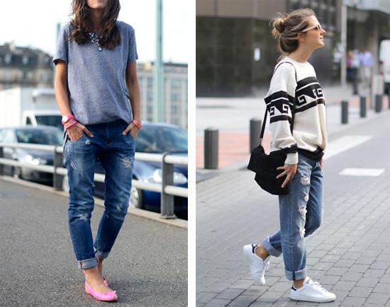 С чем носить джинсы бойфренд?