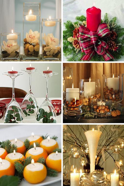 Украшение свечей на новогодний стол 2017