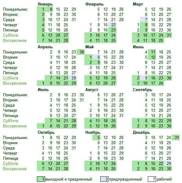 Календарь 2018 год с праздничными и предпраздничными днями