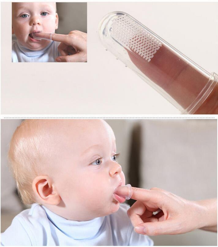 Силиконовый напальчник для чистки десен, языка и первых зубов новорожденного