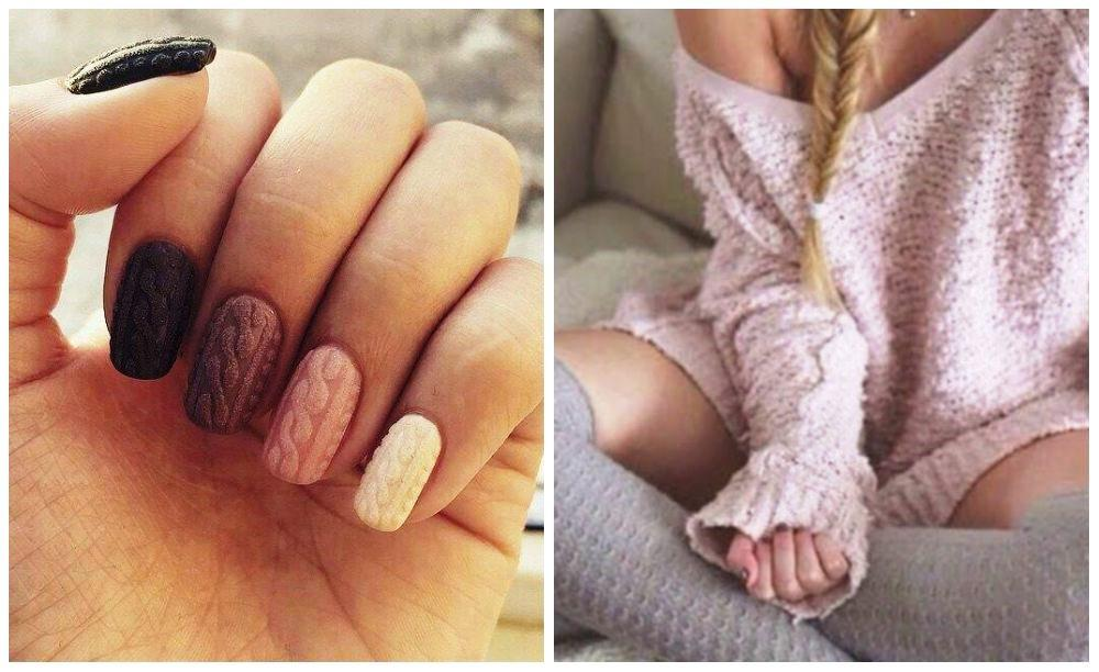 Свитер на ногтях - вязаные ногти