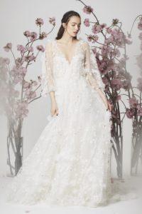 Платье с прозрачными рукавами Marchesa весна-лето 2018