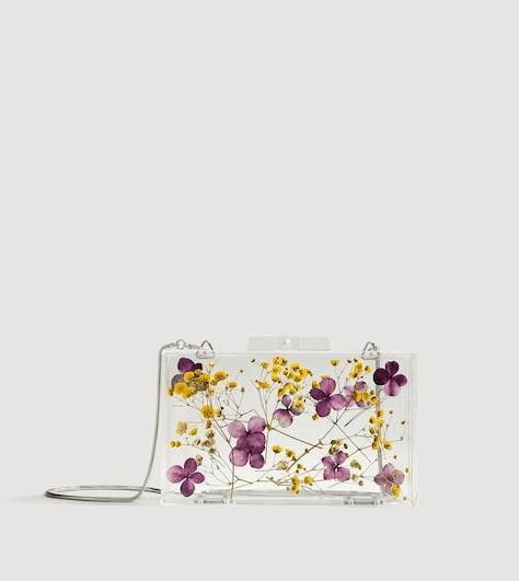 Прозрачный виниловый клатч с цветами из Mango
