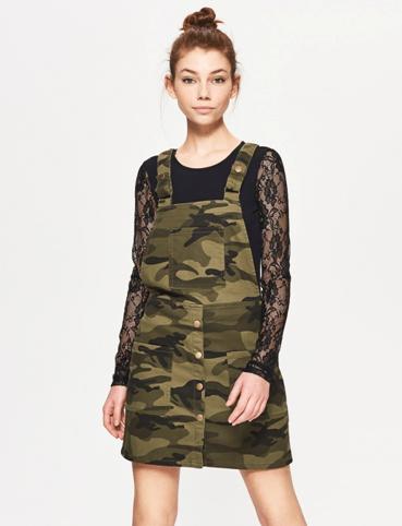 Платье-комбинезон защитного цвета