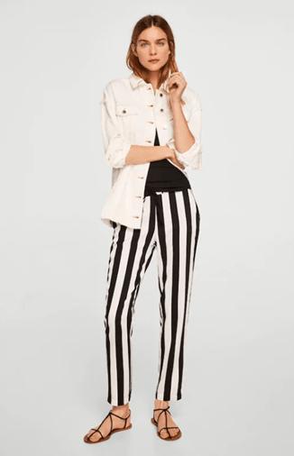 Обтягивающие полосатые брюки