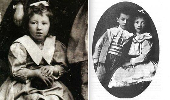 Фаина Раневская в детстве; на фото справа - с братом