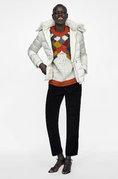 Белый пуховик из Zara