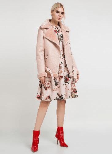 Дубленка нежно-розового цвета