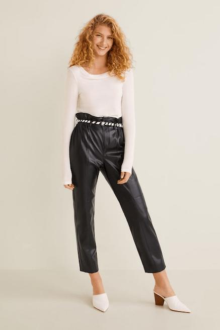 Кожаные брюки из Mango