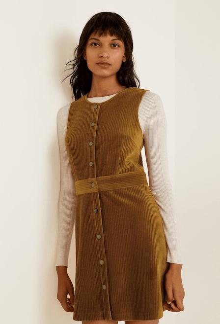Платье из вельвета коричневое