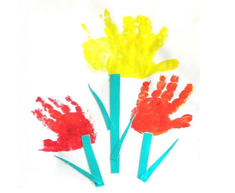 Рисование пальчиками и ладошками с детьми 1-3 лет – тюльпаны