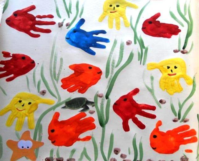 Рисование пальчиками и ладошками с детьми 1-3 лет – подводный мир