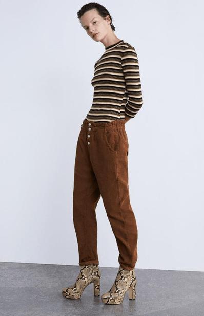 Вельветовые брюки-бэгги